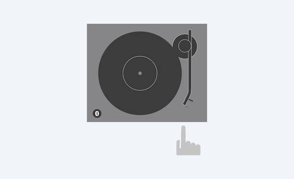 Ilustrație a modului în care se poate porni discul apăsând un singur buton pentru redare automată