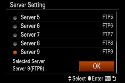 Imagine cu ecranul meniului de configurare a setărilor de server ale camerei