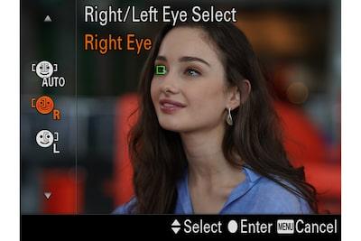 Imagine pe monitor cu un model și un cadru FA peste un ochi, cu comenzi vizibile pentru selectarea ochiului drept sau stâng